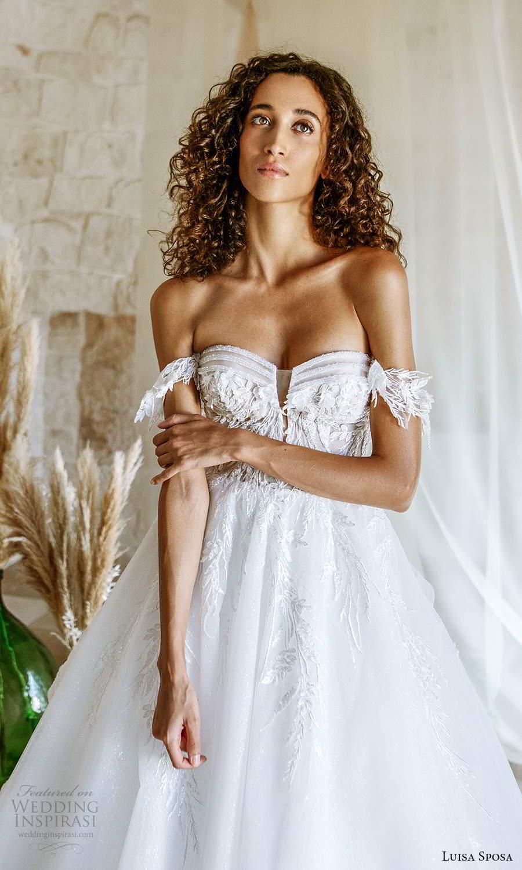 luisa sposa 2021 bridal off shoulder straps sweetheart neckline embellished bodice a line ball gown wedding dress chapel train (4) zv