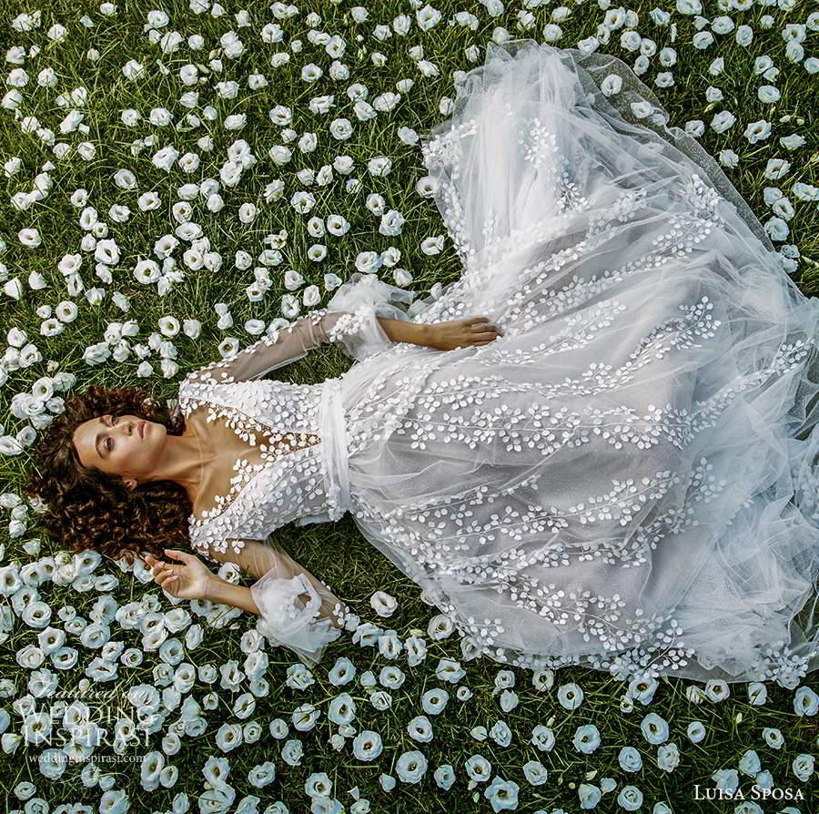 luisa sposa 2021 bridal sheer long sleeves plunging v neckline fully embellished romantic a line ball gownw wedding dress (2) fv