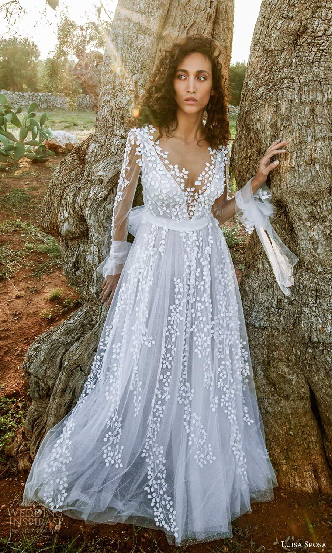 luisa sposa 2021 bridal sheer long sleeves plunging v neckline fully embellished romantic a line ball gownw wedding dress (2) mv