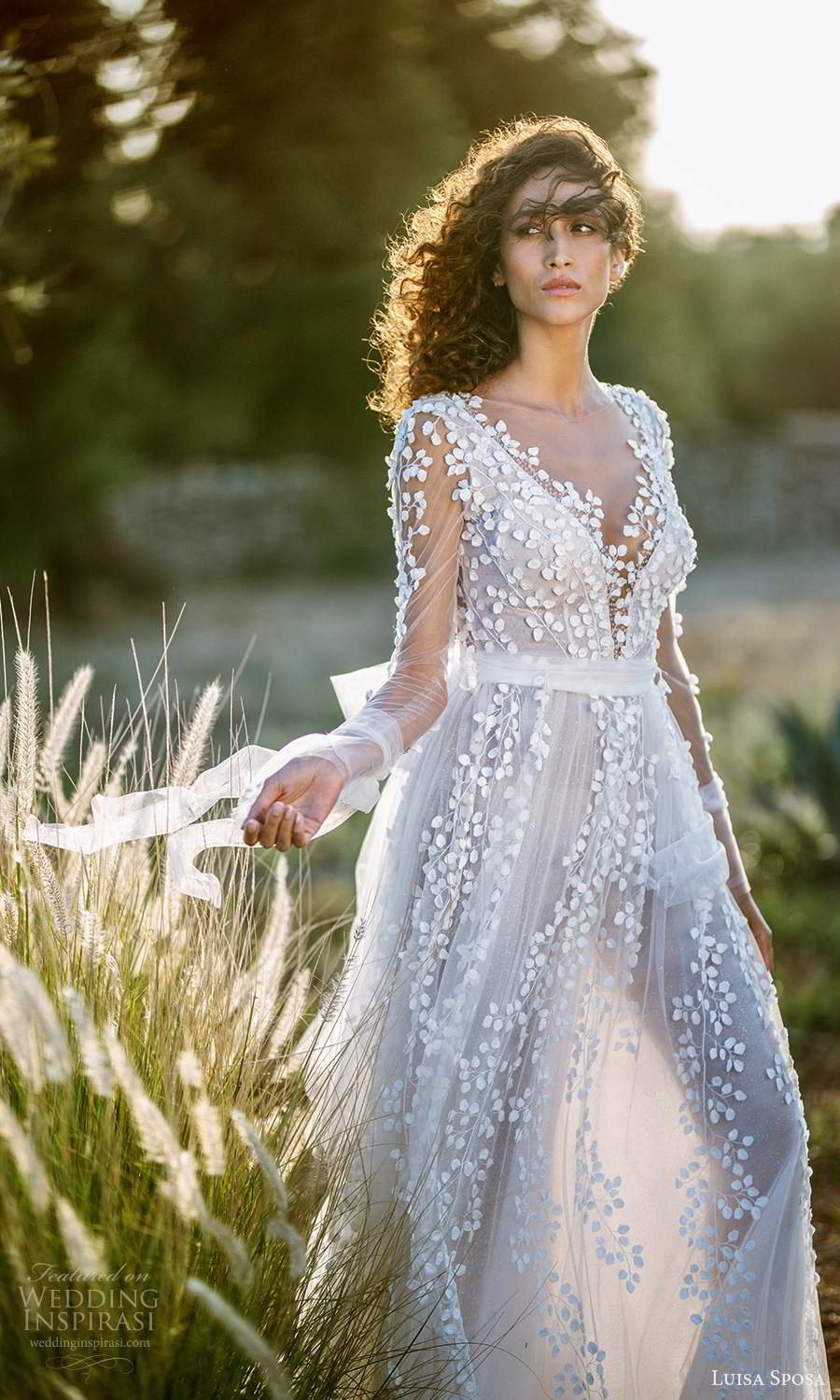 luisa sposa 2021 bridal sheer long sleeves plunging v neckline fully embellished romantic a line ball gownw wedding dress (2) sv