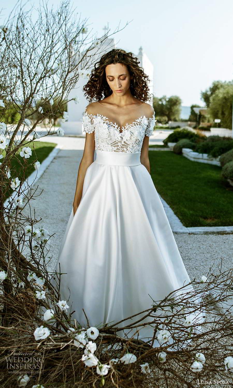 luisa sposa 2021 bridal short sleeve illusion bateau sweetheart neckline embellished bodice clean skirt a line ball gown wedding dress (9) mv