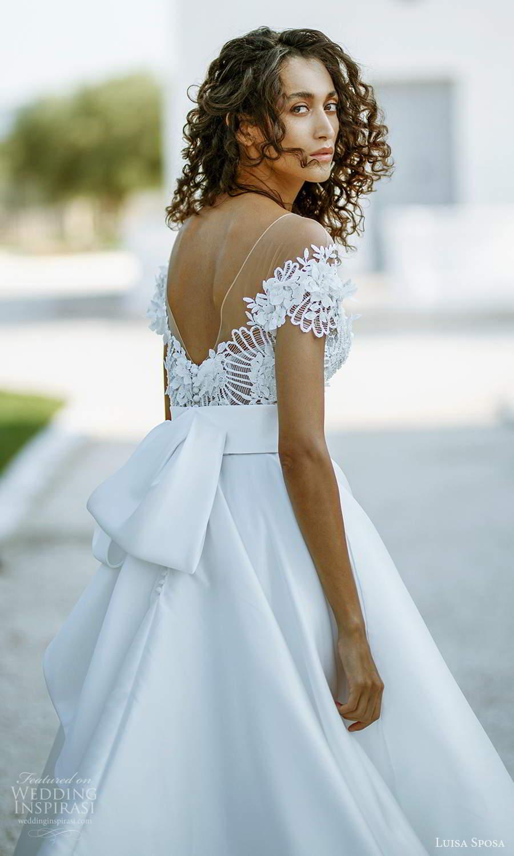 luisa sposa 2021 bridal short sleeve illusion bateau sweetheart neckline embellished bodice clean skirt a line ball gown wedding dress (9) zbv