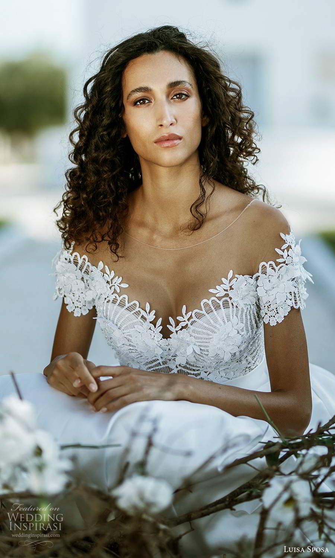 luisa sposa 2021 bridal short sleeve illusion bateau sweetheart neckline embellished bodice clean skirt a line ball gown wedding dress (9) zv