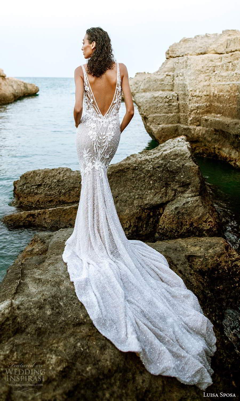 luisa sposa 2021 bridal sleeveless straps plunging v neckline fully embellished sheath wedding dress v back chapel train (1) bv