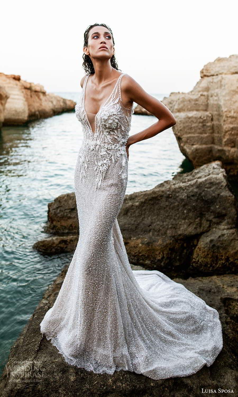 luisa sposa 2021 bridal sleeveless straps plunging v neckline fully embellished sheath wedding dress v back chapel train (1) mv
