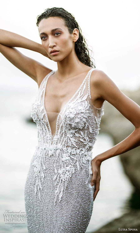 luisa sposa 2021 bridal sleeveless straps plunging v neckline fully embellished sheath wedding dress v back chapel train (1) zv