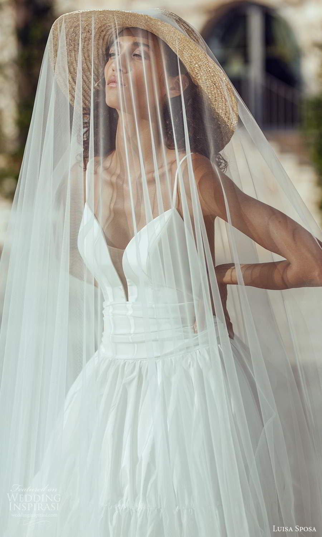 luisa sposa 2021 bridal sleeveless thin straps plunging sweetheart neckline clean minimalist a line ball gown wedding dress (8) fv