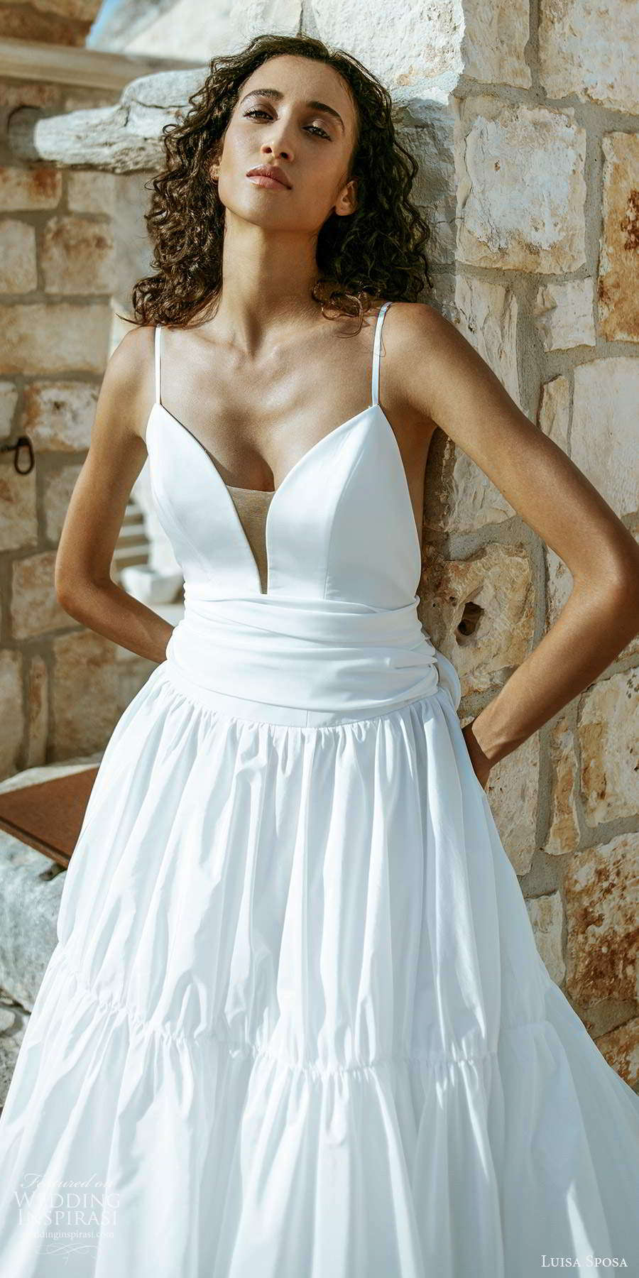 luisa sposa 2021 bridal sleeveless thin straps plunging sweetheart neckline clean minimalist a line ball gown wedding dress (8) lv