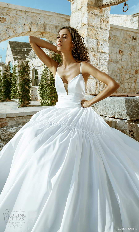 luisa sposa 2021 bridal sleeveless thin straps plunging sweetheart neckline clean minimalist a line ball gown wedding dress (8) mv
