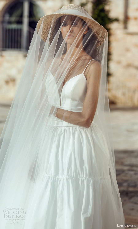 luisa sposa 2021 bridal sleeveless thin straps plunging sweetheart neckline clean minimalist a line ball gown wedding dress (8) zv