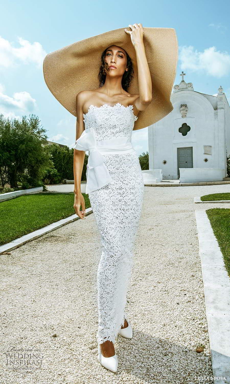 luisa sposa 2021 bridal strapless scallop neckline fully embellished lace sheath wedding dress (6) mv