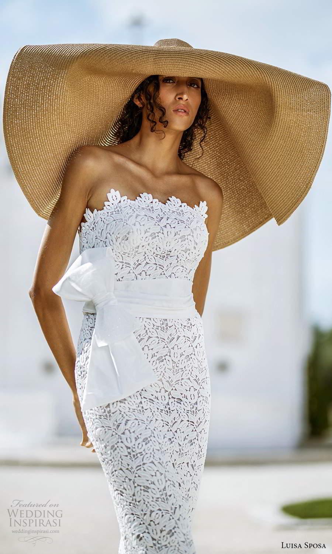 luisa sposa 2021 bridal strapless scallop neckline fully embellished lace sheath wedding dress (6) zv