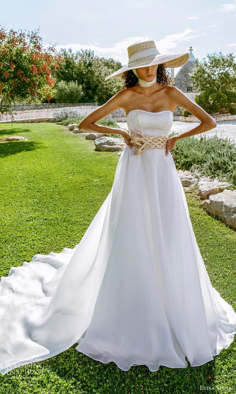 luisa sposa 2021 bridal strapless semi sweetheart neckline clean minimalist a line ball gown wedding dress chapel train (3) fv