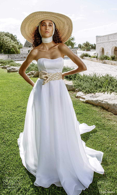 luisa sposa 2021 bridal strapless semi sweetheart neckline clean minimalist a line ball gown wedding dress chapel train (3) mv