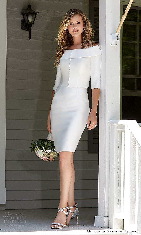 morilee madeline gardner spring 2021 bridal 3 quarter sleeve jacket strapless sweetheart neckline short knee length wedding dress (9) mv