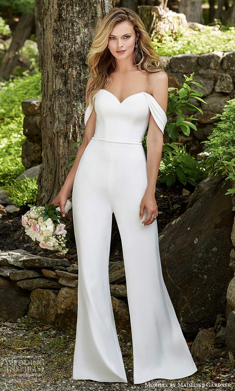 morilee madeline gardner spring 2021 bridal detachable straps strapless sweetheart neckline jumpsuit pants wedding dress (10) mv