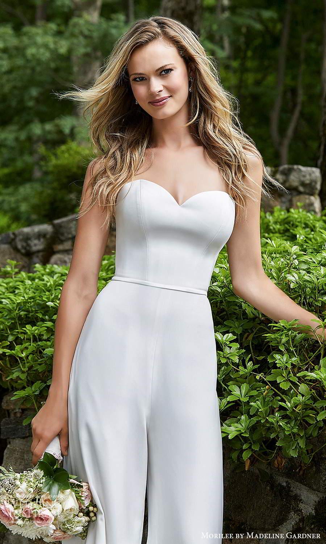 morilee madeline gardner spring 2021 bridal detachable straps strapless sweetheart neckline jumpsuit pants wedding dress (10) zv