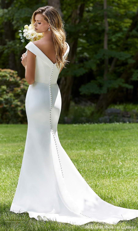 morilee madeline gardner spring 2021 bridal off shoulder straps sweetheart neckline clean minimalist modern fit flare trumpet mermaid wedding dress chapel train (7) bv