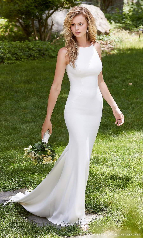 morilee madeline gardner spring 2021 bridal sleeveless halter neckline clean minimalist modern fit flare trumpet mermaid wedding dress chapel train (3) mv
