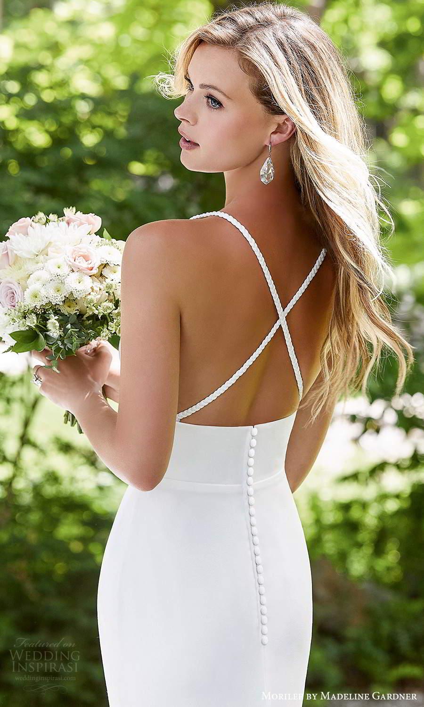 morilee madeline gardner spring 2021 bridal sleeveless straps plunging sweetheart neckline clean minimalist fit flare modified a line wedding dress high slit skirt chapel train (1) zbv
