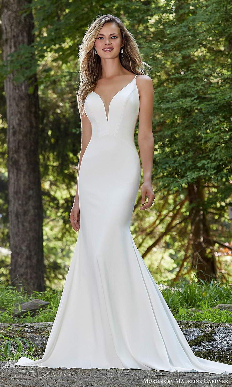 morilee madeline gardner spring 2021 bridal sleeveless straps plunging v neckline clean minimalist fit flare trumpet mermaid wedding dress chapel train cutout back (6) mv