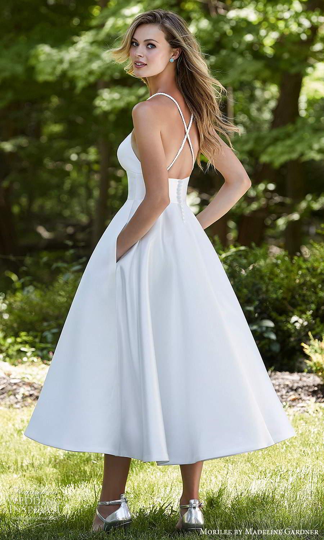 morilee madeline gardner spring 2021 bridal sleeveless straps plunging v neckline clean minimalist modern a line tea length wedding dress (8) bv