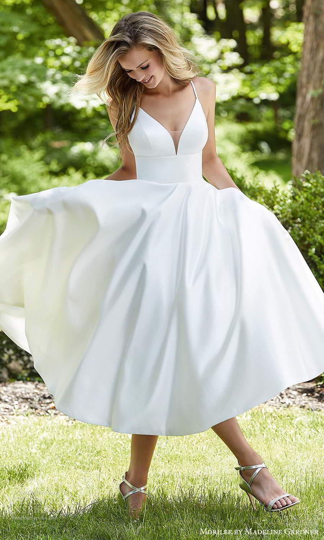 morilee madeline gardner spring 2021 bridal sleeveless straps plunging v neckline clean minimalist modern a line tea length wedding dress (8) mv