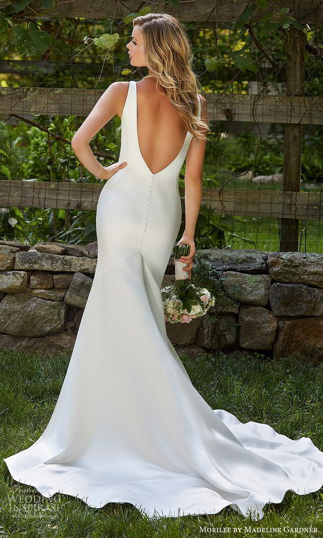 morilee madeline gardner spring 2021 bridal sleeveless thick straps plunging v necklnie clean minimalistmodern fit flare mermaid wedding dress chapel train (4) bv