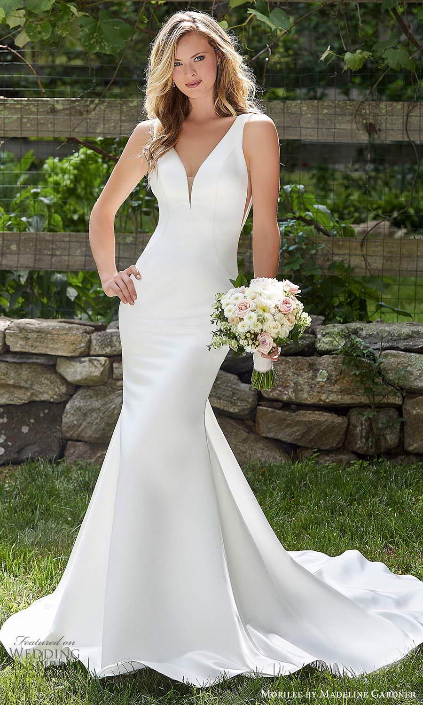 morilee madeline gardner spring 2021 bridal sleeveless thick straps plunging v necklnie clean minimalistmodern fit flare mermaid wedding dress chapel train (4) mv