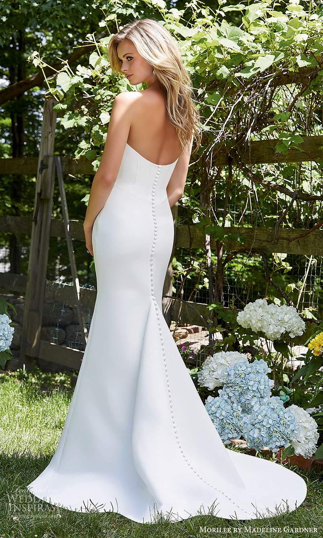 morilee madeline gardner spring 2021 bridal strapless sweetheart neckline clean minimalist fit flare trumpet mermaid wedding dress chapel train (2) bv