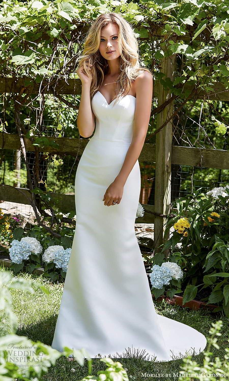 morilee madeline gardner spring 2021 bridal strapless sweetheart neckline clean minimalist fit flare trumpet mermaid wedding dress chapel train (2) mv