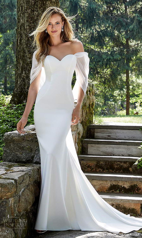 morilee madeline gardner spring 2021 bridal strapless sweetheart neckline clean minimalist modern sheath wedding dress chapel train (5) mv