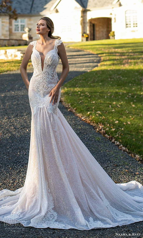 naama and anat fall 2021 bridalcap sleeves plunging v neckline fully embellished fit flare mermaid wedding dress chapel train (2) mv