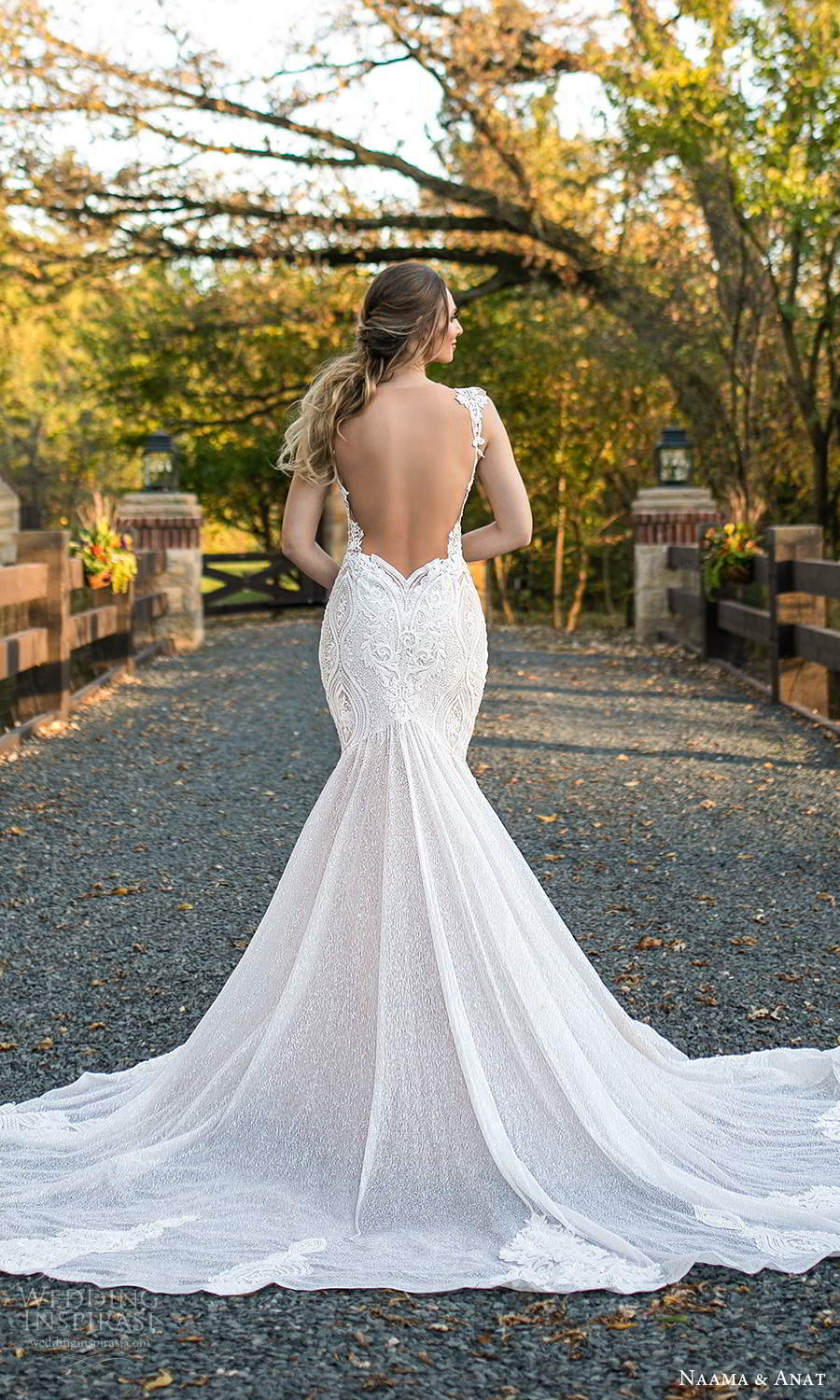 naama and anat fall 2021 bridalcap sleeves plunging v neckline fully embellished fit flare mermaid wedding dress chapel train sheer open back (2) bv