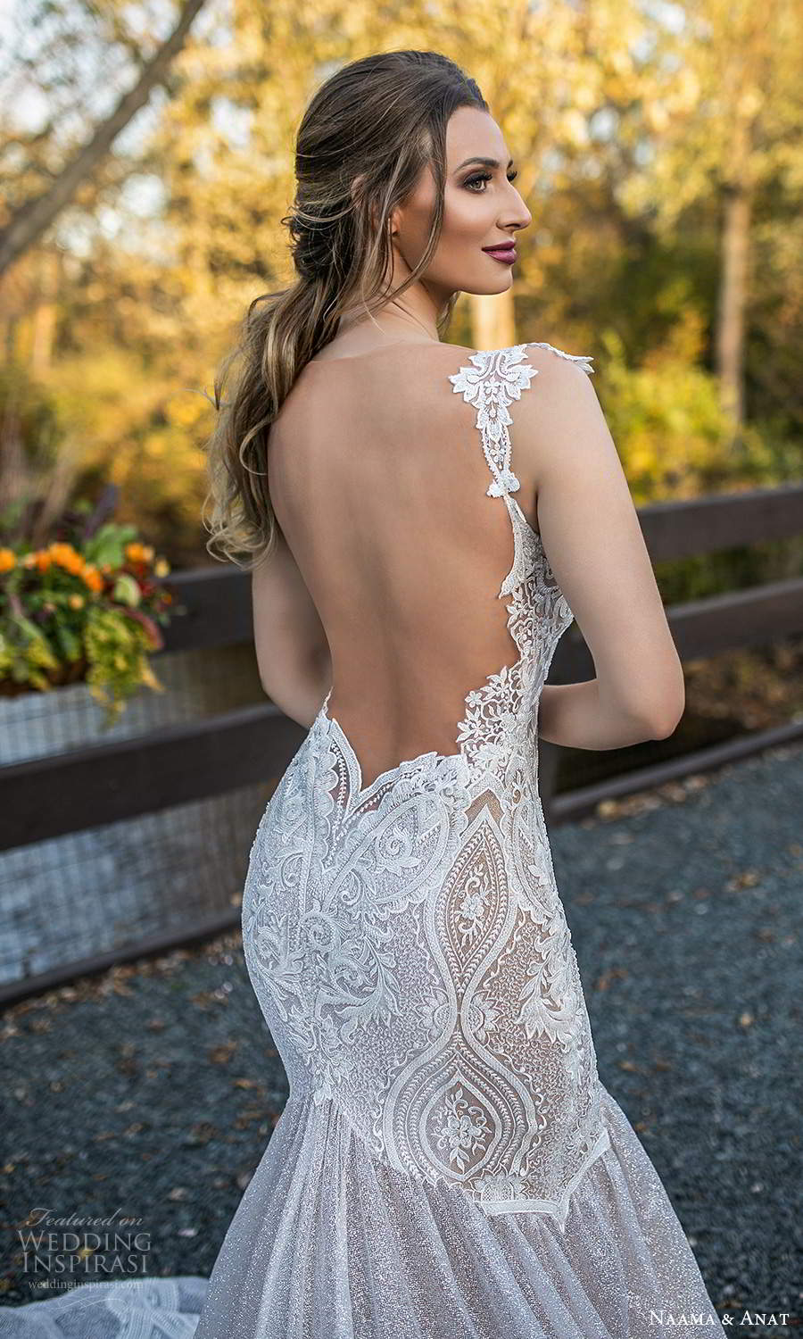 naama and anat fall 2021 bridalcap sleeves plunging v neckline fully embellished fit flare mermaid wedding dress chapel train sheer open back (2) zbv