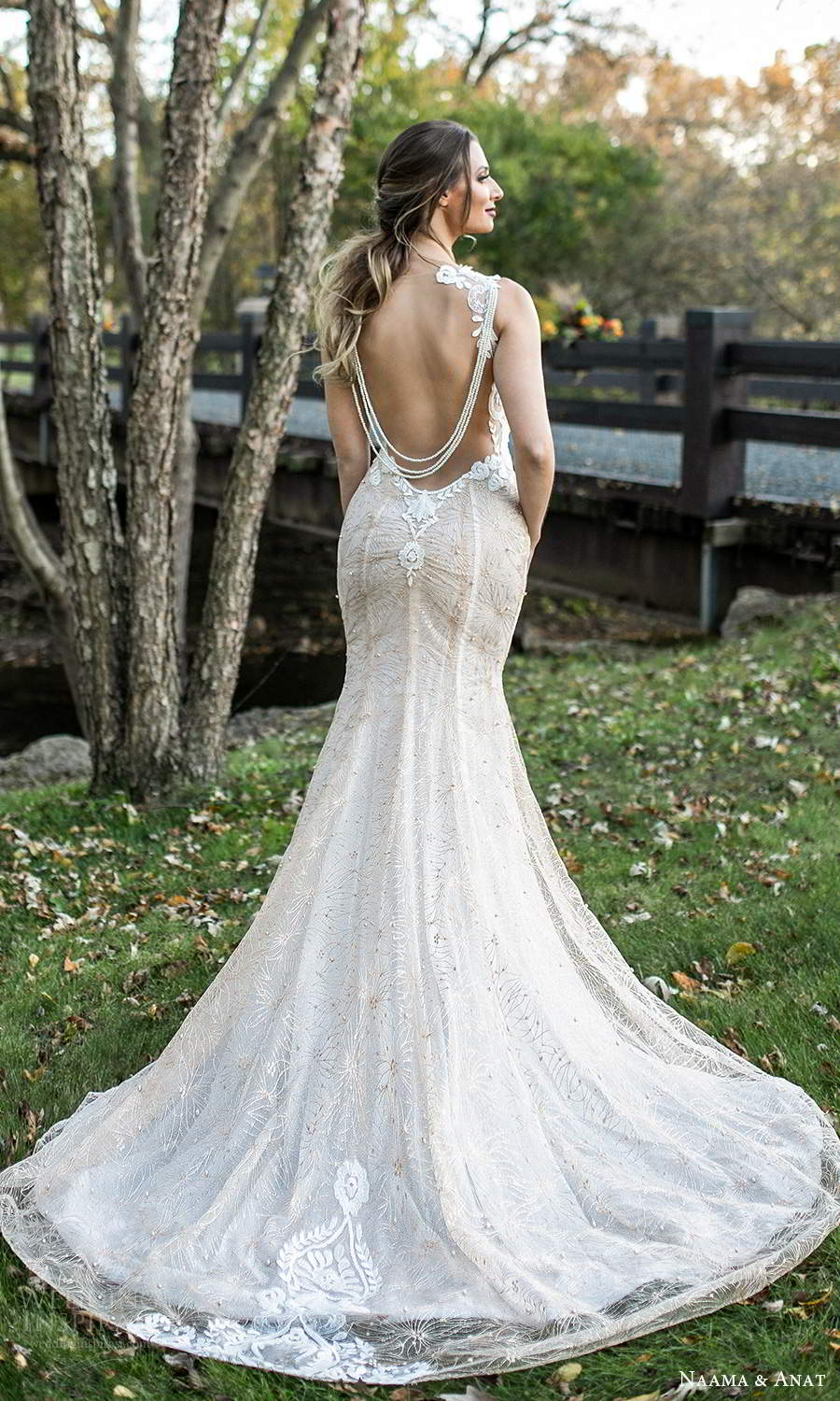 naama and anat fall 2021 bridalsleeveless illusion straps scoop neckline fully embellished fit flare sheath wedding dress chapel train (6) bv