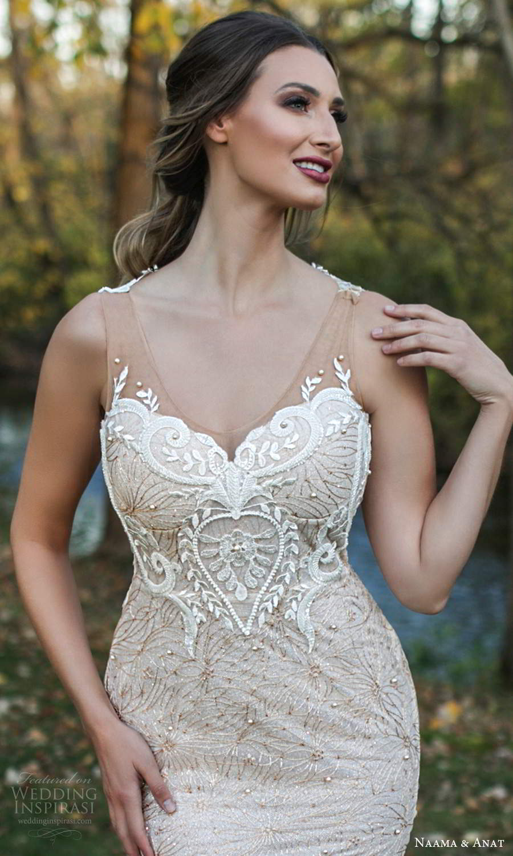 naama and anat fall 2021 bridalsleeveless illusion straps scoop neckline fully embellished fit flare sheath wedding dress chapel train (6) mv
