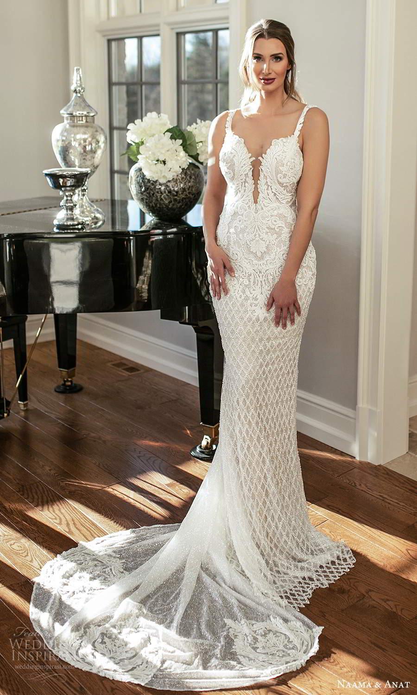 naama and anat fall 2021 bridalsleeveless straps plunging v neckline fully embellished sheath wedding dress chapel train (1) mv