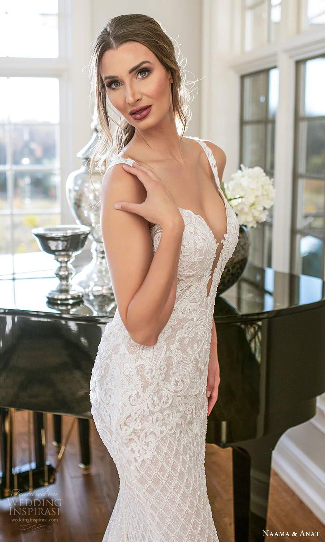 naama and anat fall 2021 bridalsleeveless straps plunging v neckline fully embellished sheath wedding dress chapel train sheer open back (1) zv