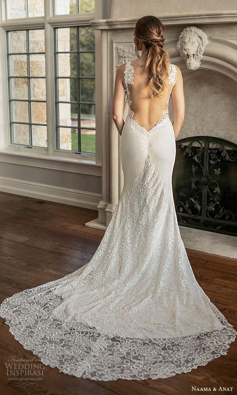 naama and anat fall 2021 bridalsleeveless thin straps sweetheart neckline embellished bodice sheath wedding dress chapel train (4) bv