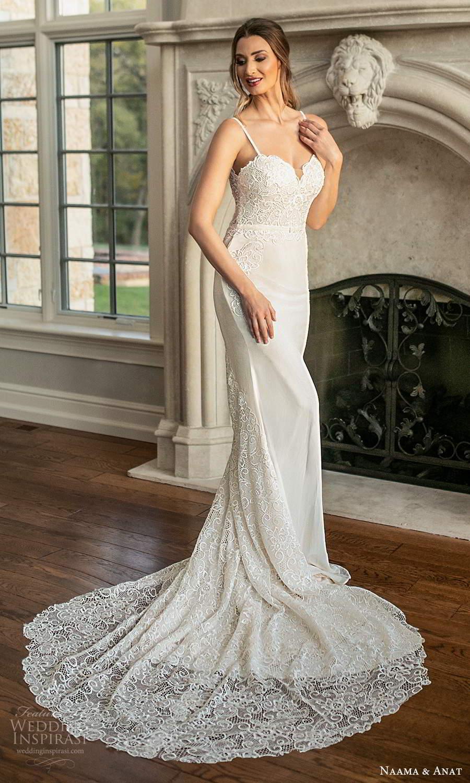 naama and anat fall 2021 bridalsleeveless thin straps sweetheart neckline embellished bodice sheath wedding dress chapel train (4) fv