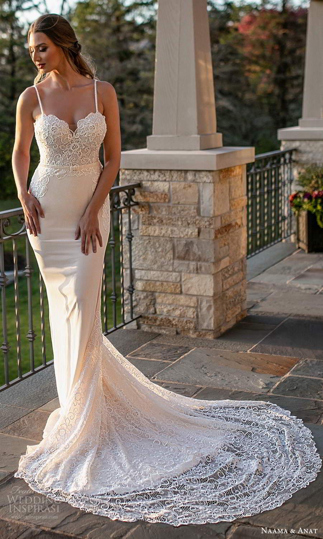 naama and anat fall 2021 bridalsleeveless thin straps sweetheart neckline embellished bodice sheath wedding dress chapel train (4) mv