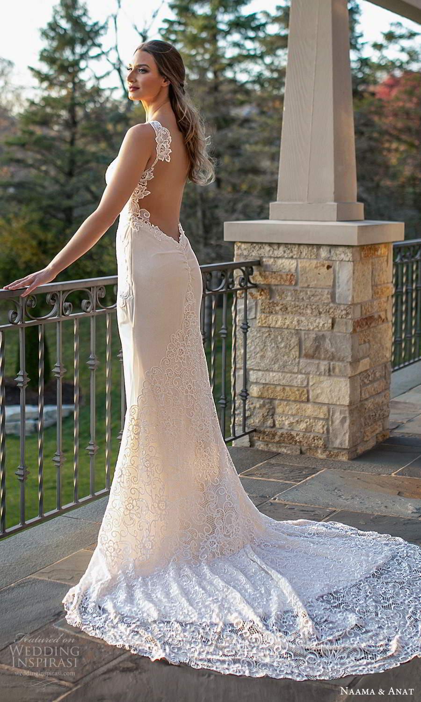 naama and anat fall 2021 bridalsleeveless thin straps sweetheart neckline embellished bodice sheath wedding dress chapel train (4) sv