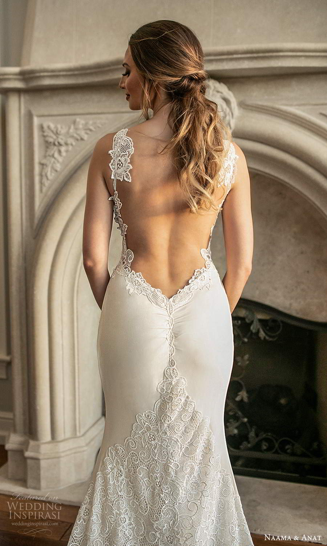naama and anat fall 2021 bridalsleeveless thin straps sweetheart neckline embellished bodice sheath wedding dress chapel train (4) zbv