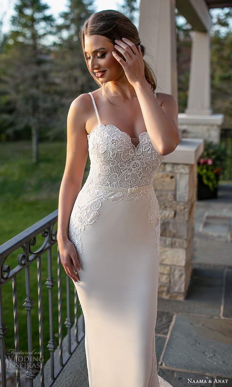 naama and anat fall 2021 bridalsleeveless thin straps sweetheart neckline embellished bodice sheath wedding dress chapel train (4) zv