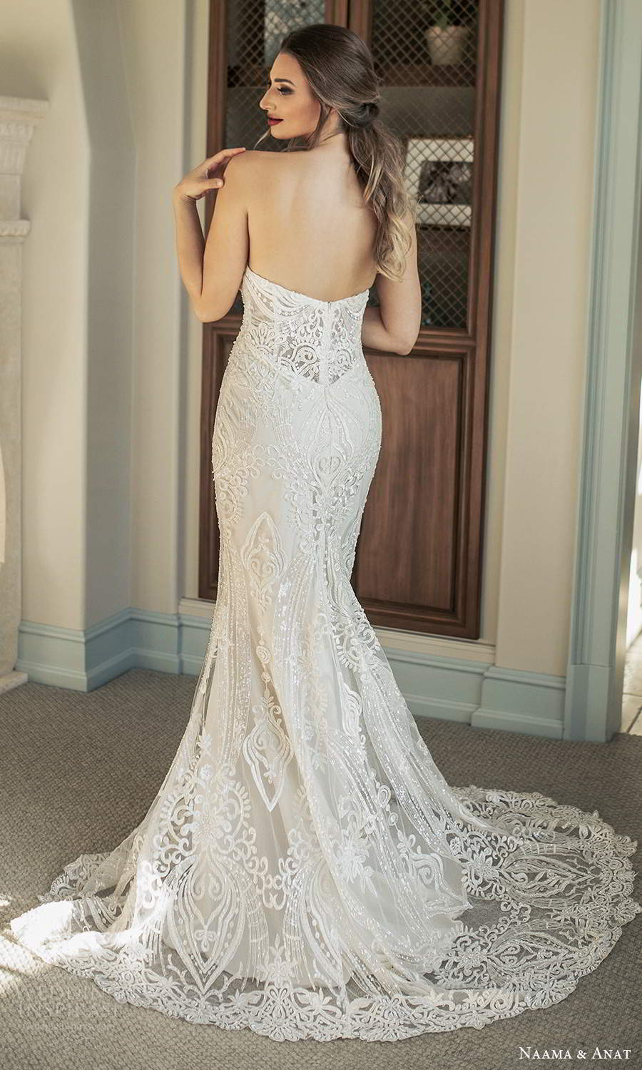 naama and anat fall 2021 bridalstrapless plunging sweetheart neckline fully embellished fit flare mermaid wedding dress chapel train (5) bv