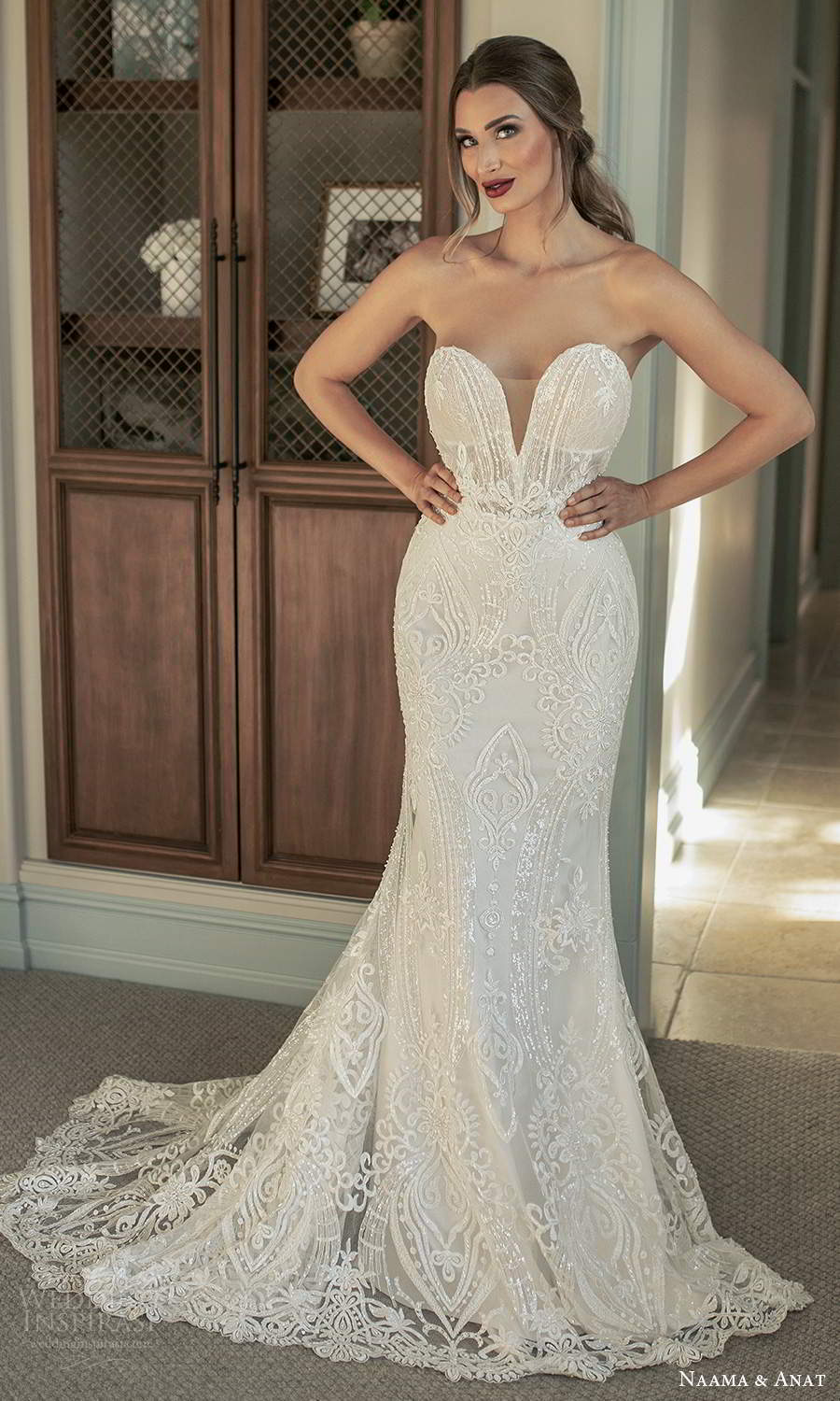 naama and anat fall 2021 bridalstrapless plunging sweetheart neckline fully embellished fit flare mermaid wedding dress chapel train (5) mv