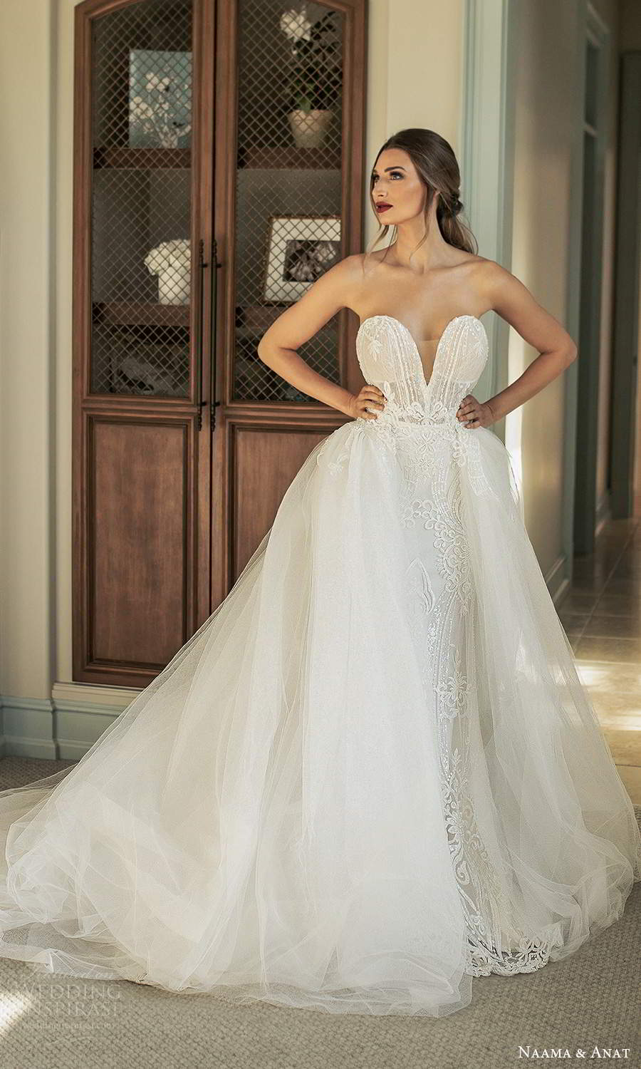 naama and anat fall 2021 bridalstrapless plunging sweetheart neckline fully embellished fit flare mermaid wedding dress chapel train ball gown overskirt (5) mv