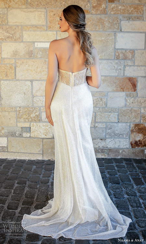 naama and anat fall 2021 bridalstraplress sweetheart neckline fully embellished sheath column wedding dress chapel train sheer back champagne (7) bv