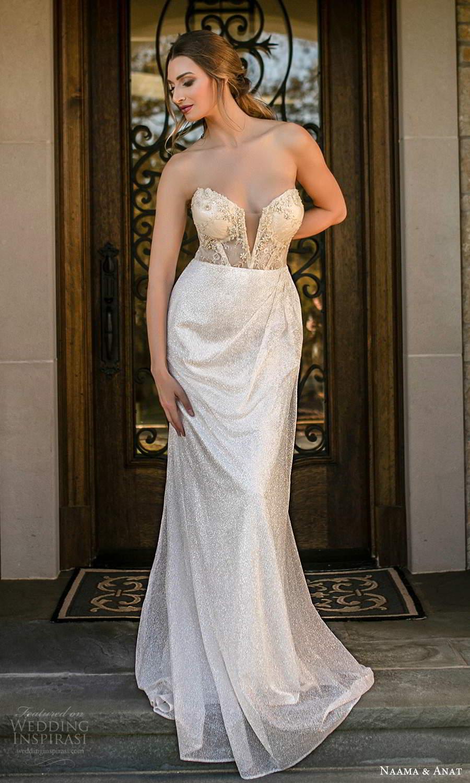 naama and anat fall 2021 bridalstraplress sweetheart neckline fully embellished sheath column wedding dress chapel train sheer back champagne (7) mv